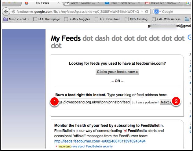 Screenshot add feed to feedburner