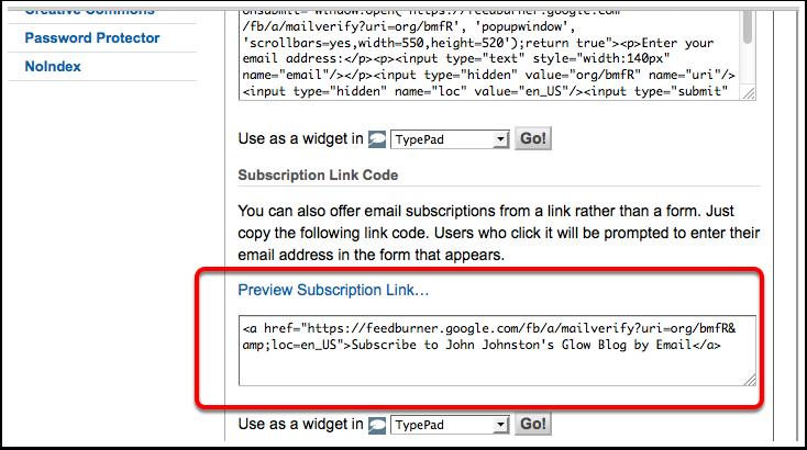Screenshot Feedburner, Activate email subscription link