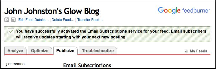Screenshot Feedburner, Activate email subscription success