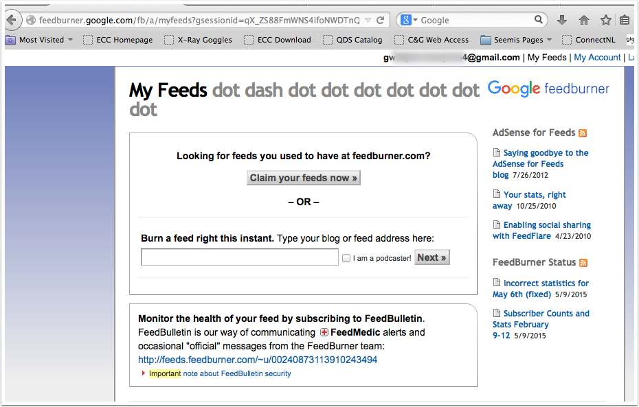 Screenshot Feedburner logged on page