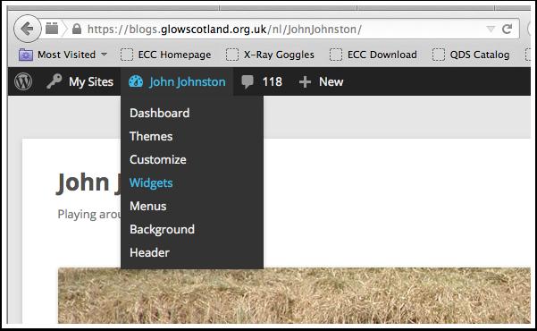 Admin bar Add Widget menu item