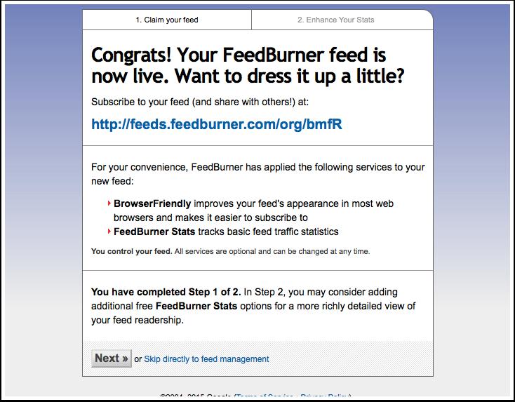 Screenshot Feedburner, your feed is live