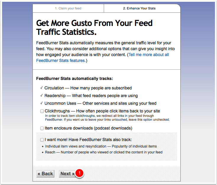 Screenshot feedburner stats