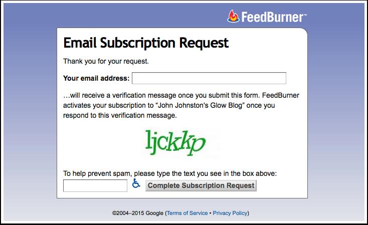 Screenshot Feedburner Subscribe page