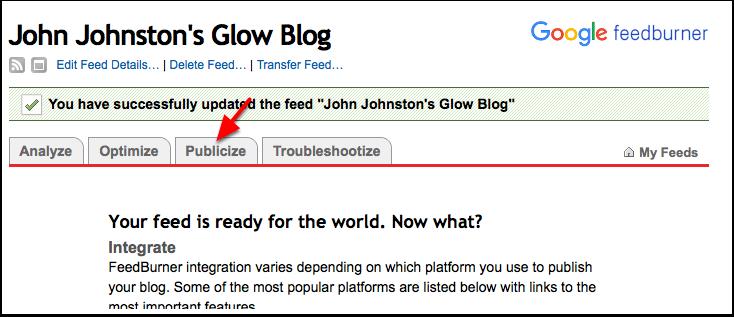 Screenshot Feedburner: pointer to Publicize