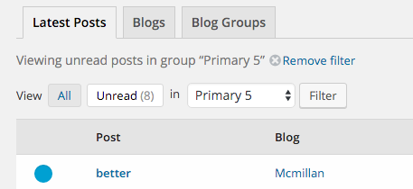 Screenshot Filtering posts in Glow Blogs Reader
