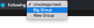 Screenshot following groups popup