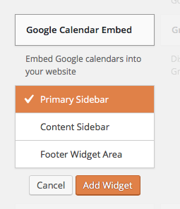 Screenshot widget embed, destination choice