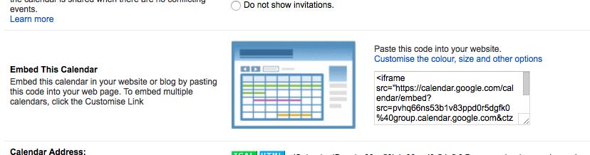 Screenshot google calendar embed-code