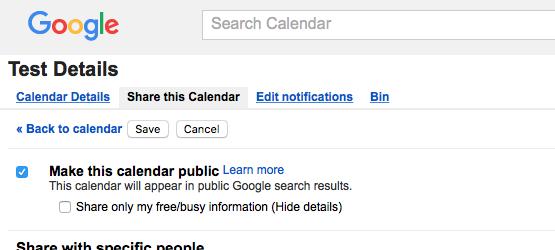 Screenshot google cal make public