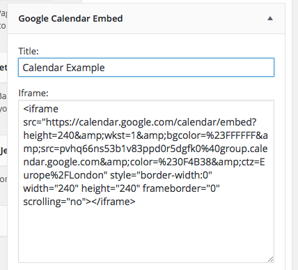 Screenshot Google Calendar widget with embed code