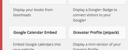 google calendar widget in widget list