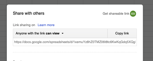 google sheet share dialog