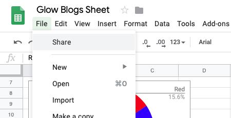 Google Sheets Share menu