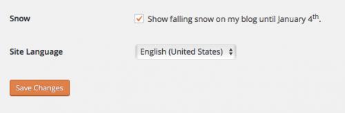 screenshot of snow setting