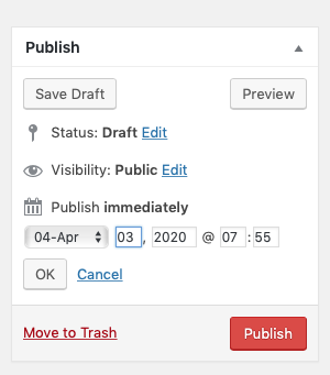 Screenshot edting the date in the Publish Metabox
