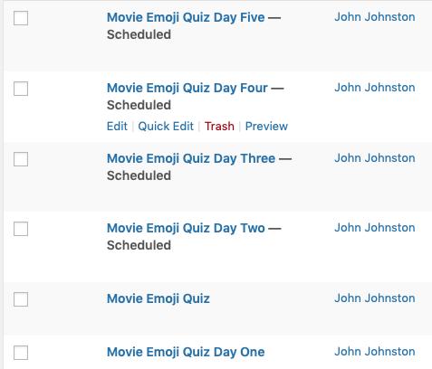 Screenshot oa All posts dashboard showing scheduled posts