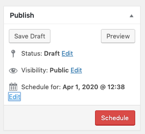 Screenshot of publish metabox showing Publish button has changed to Schedule