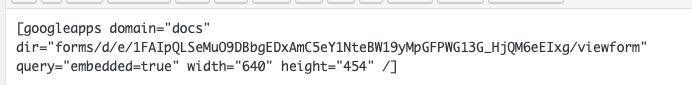 screenshot of shortcode for googlemaps