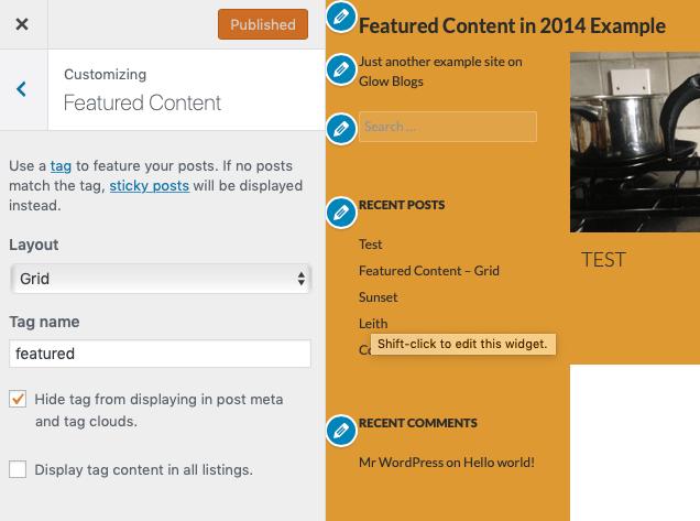 Screenshot of customiser. TwentyFourteen Theme, Featured Content section.