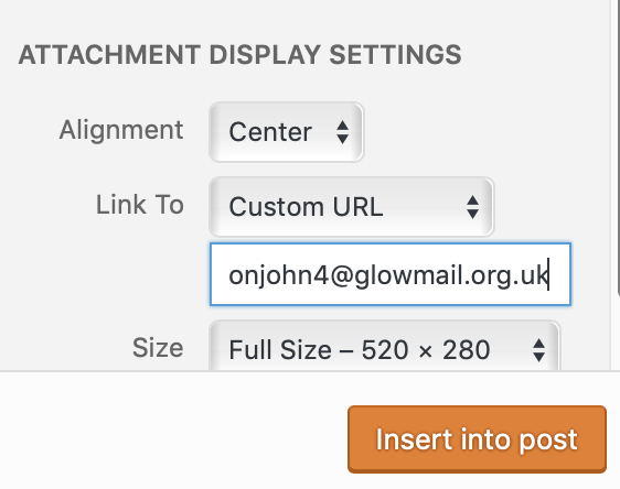 linking an image to an email