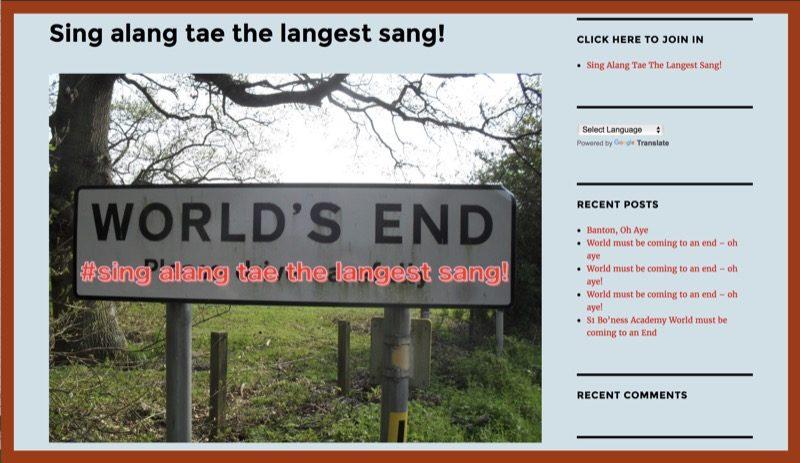 Sing alang tae the langest sang!