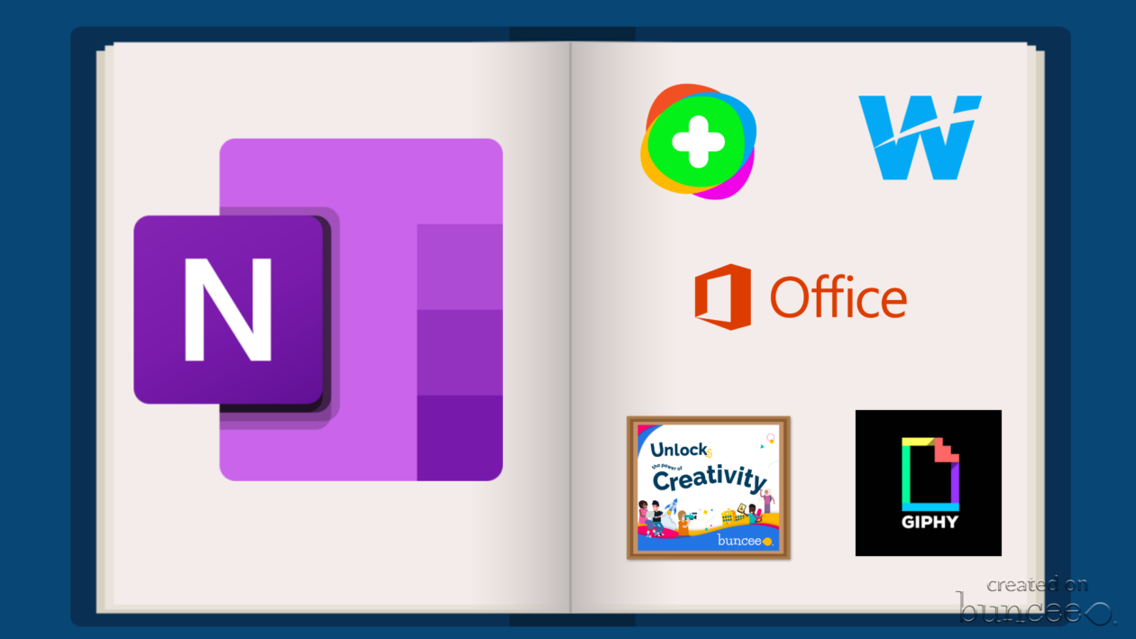 Buncee image with the image of a notebook with logos for OneNote, Flipgrid, Wakelet. Office, Buncee and Giphy