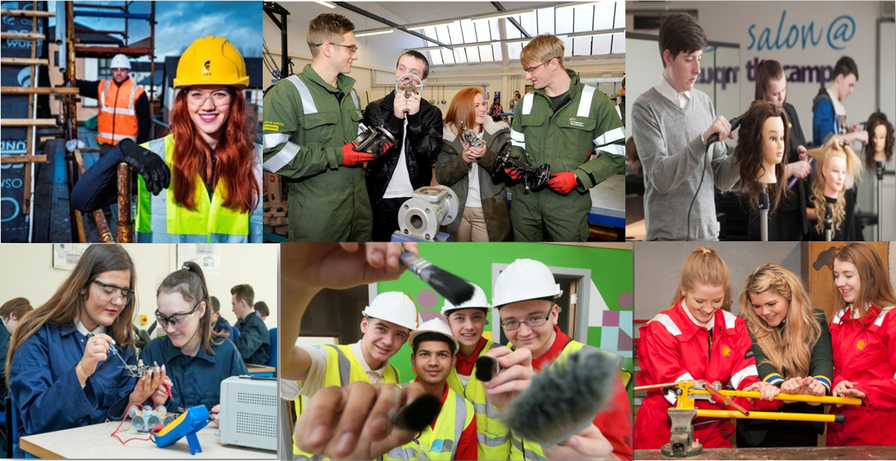 A collage of pupils from the senior phase stage of education participating in a variety of work placements