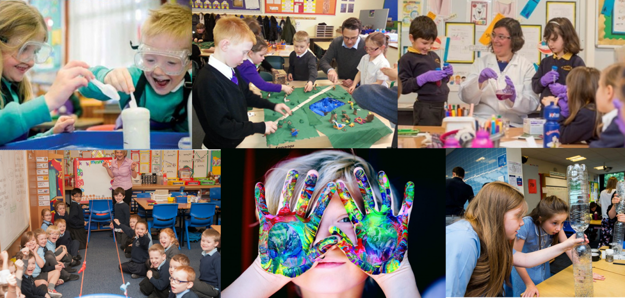 Collage of primary school children participating in STEM activities including water based experiment, flood planning, mixing in test tubes and beakers with a scientist, a class balloon rocket experiment, hands covered in paint and participating in a hurricane in a bottle experiment