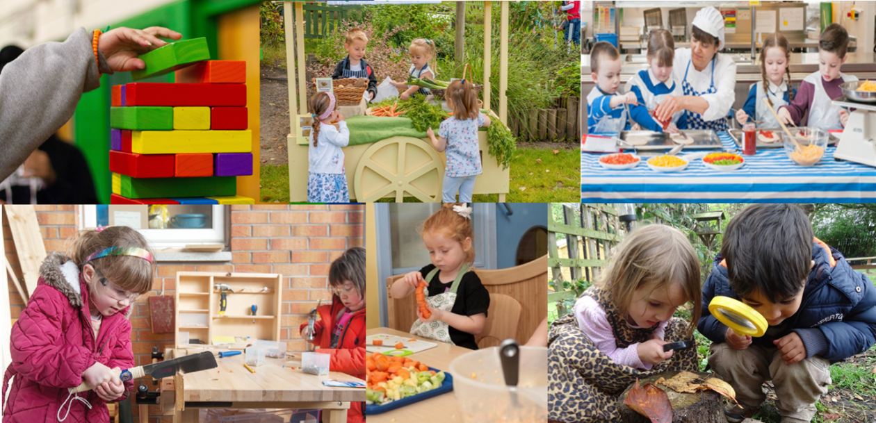 Collage of assorted STEM activities being participated in by early years children including stacking bricks, a vegetable stall, food prep with a chef, working with tools and bug hunting