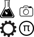 Image of science beaker, camera, cog and symbol for pi