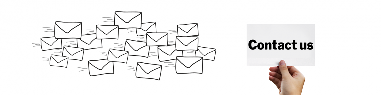 Cluster of drawings of envelopes with a hand holding a contact us sign