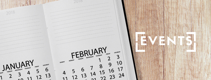 Open Diary with calendar month of January and February displayed and the word events alongside it
