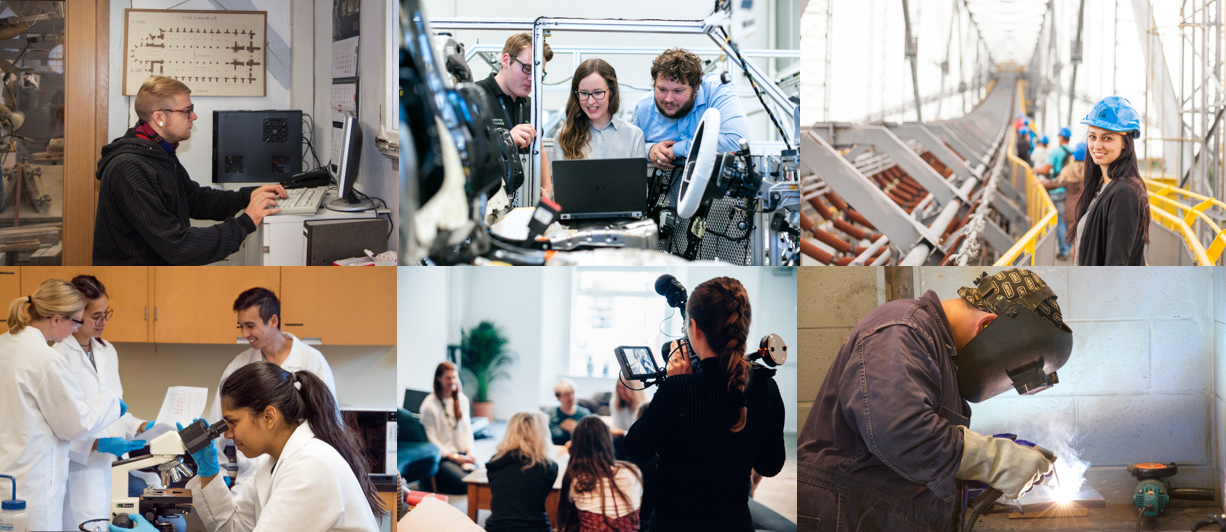 collage of 6 images of college students in STEM related activities including computing, robotics, engineering, lab science, video filming and welding