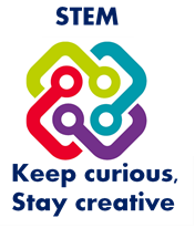 STEM nation logo of 4 different coloured connectors representing the 4 key aims of the national STEM strategy intertwined with the word STEM above it and below it it says Keep curious, Stay creative
