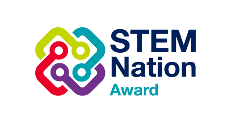 STEM Nation award logo of 4 coloured interlocking connectors to represent the 4 key aims of the national STEM strategy. Alongside this are the words STEM Nation Award