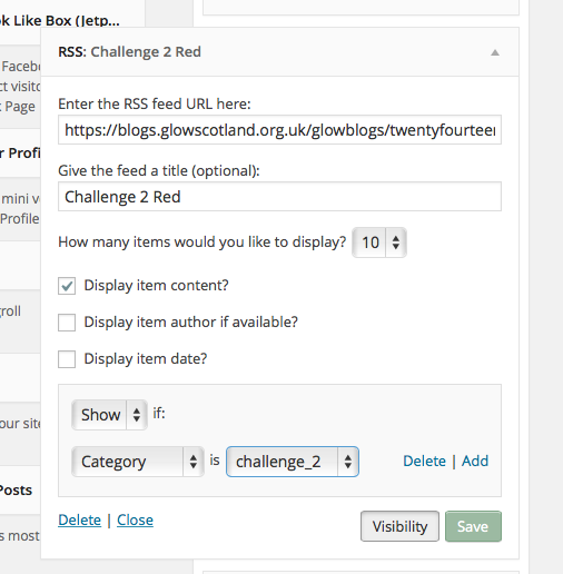 Widget configuration for this challenge