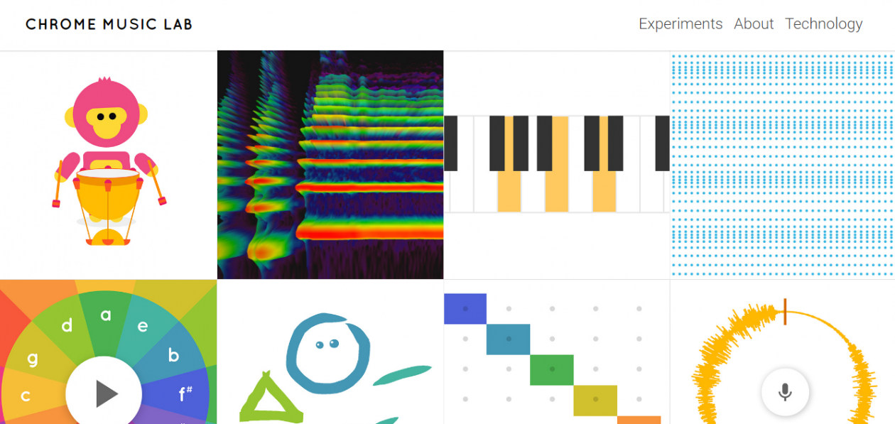 A screen grab of Chrome Music Lab