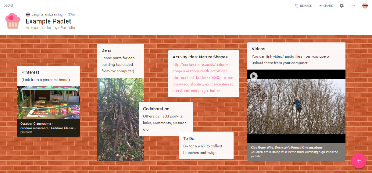 A screen grab of my example Padlet board