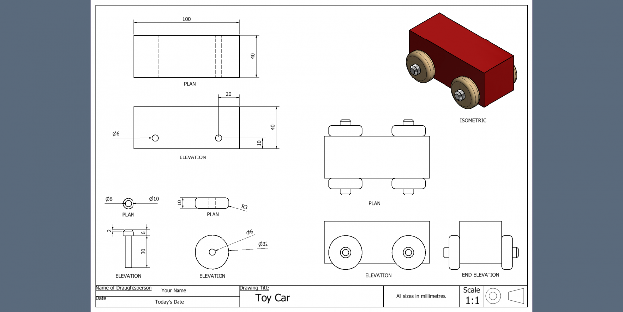 Toy Car Working Drawing