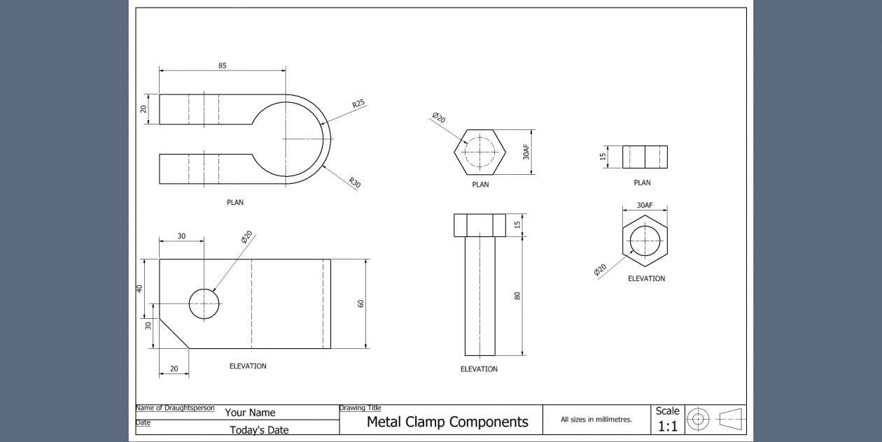 Metal Clamp Working Drawing