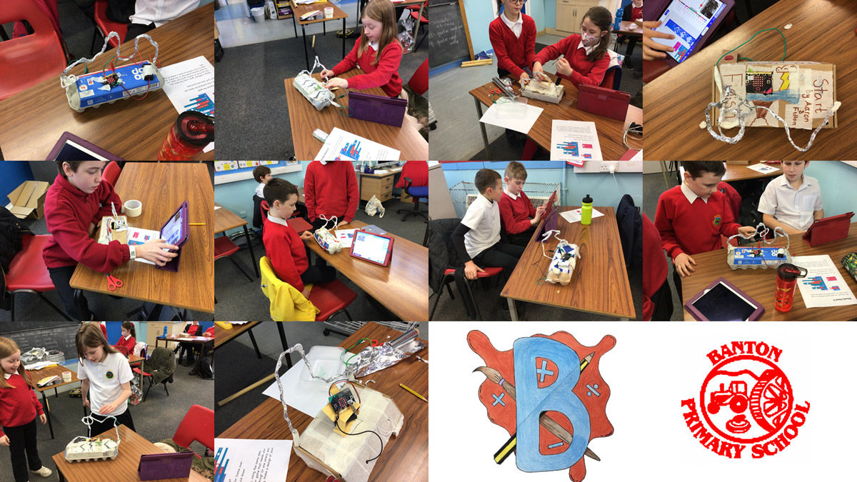 montage of pupils making steady hand games.
