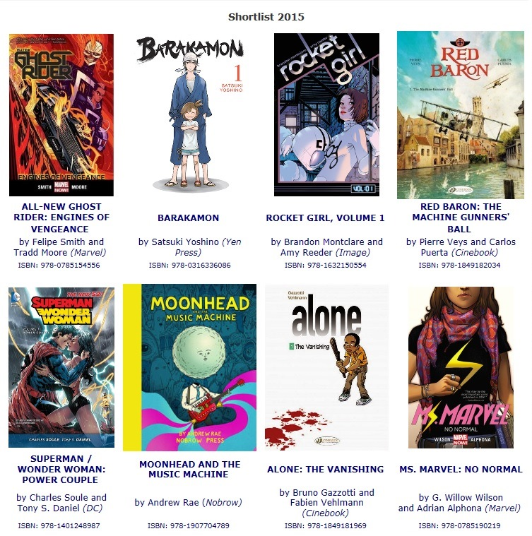 Screen shot of SLEA shortlisted books from the official website www.excelsioraward.co.uk/shortlist2015.html