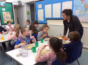 Burravoe Primary School Dumplings P3 and P4 at lunchtime