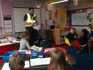 PC Hardwick visited our class to remind us how to stay safe and look after our community when out and about.