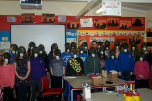 The whole class in their gas masks!