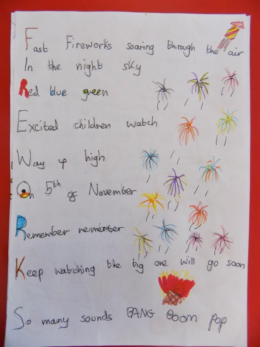 Acrostic poem adjectives related keywords acrostic poem for Firework shape poems template