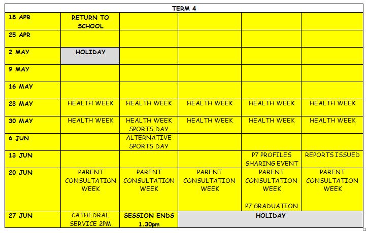 Dps Calendar.School Calendar Dunblane Primary School