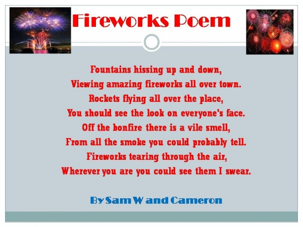 P7 Fireworks Rhyming Poems « EastertounPrimaryLearningLog