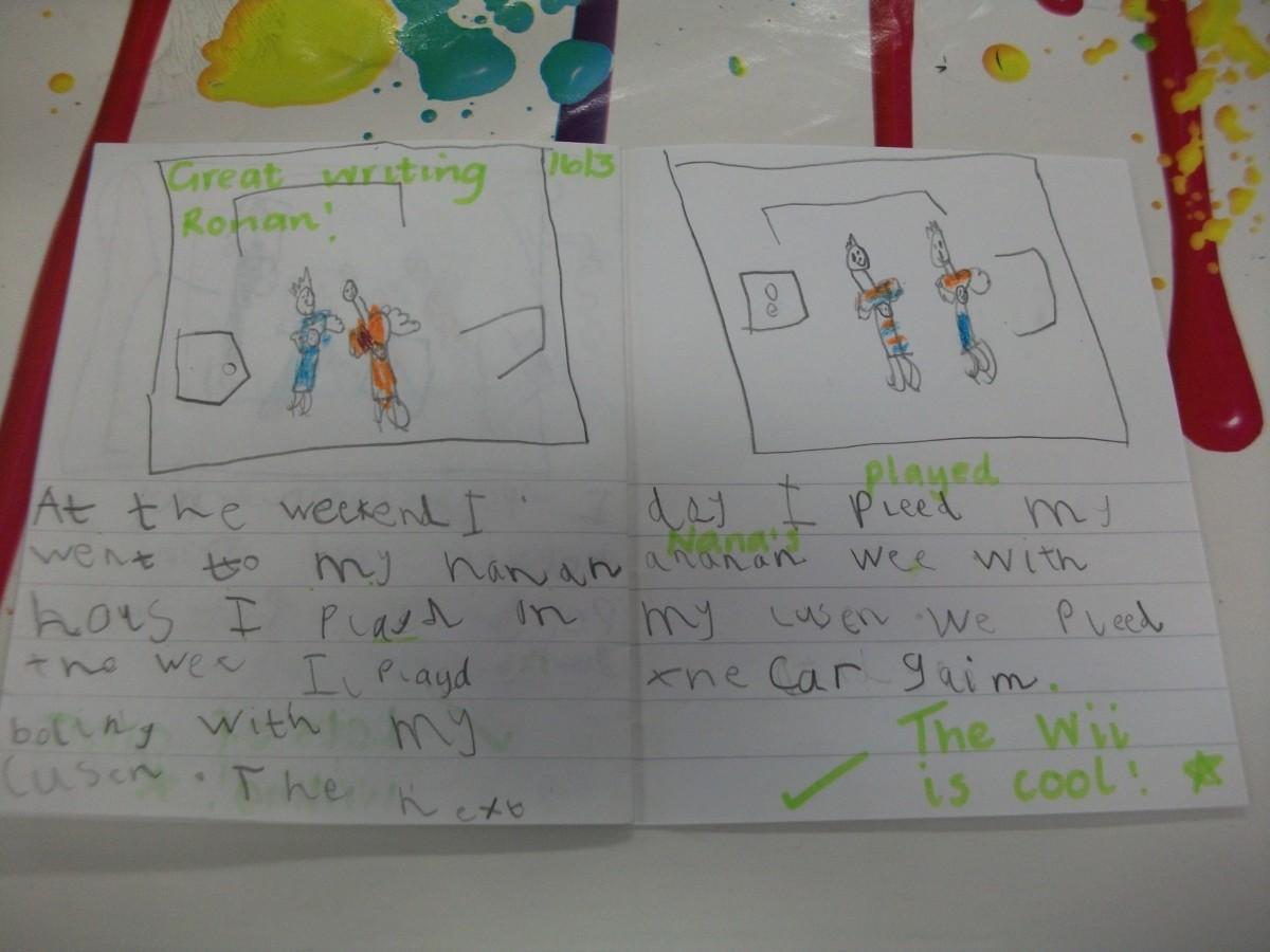 Writing fun in P1b    St Nicholas Primary School
